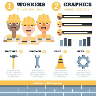 Los trabajadores y los elementos de construcción para la infografía