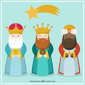Los tres reyes de oriente en estilo dibujos animados