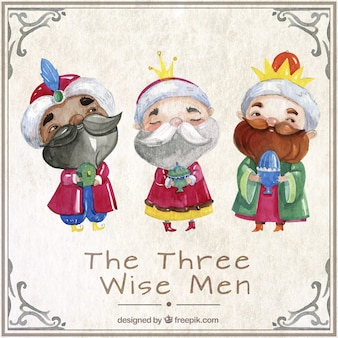 Los tres reyes magos en estilo acuarela