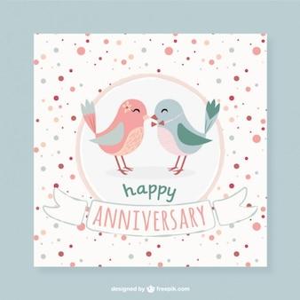 Lovely birds tarjeta de aniversario de puntos