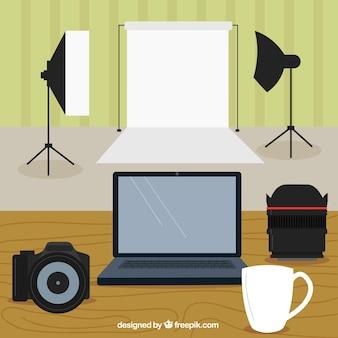 Lugar de trabajo en un estudio de foto