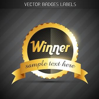Luminoso diseño de etiqueta dorado de ganador