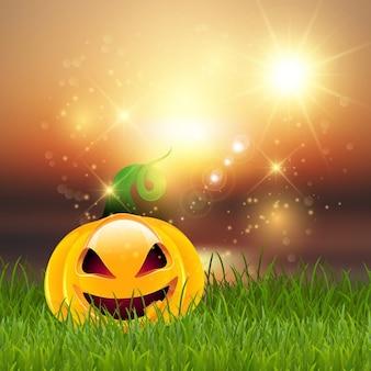 Luminoso fondo con una calabaza para halloween