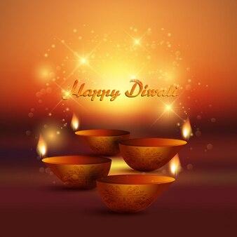 Luminoso fondo naranja con cuatro velas para diwali