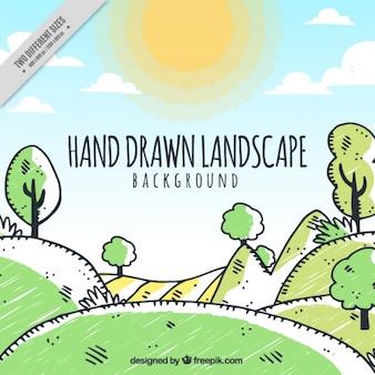 Luminoso paisaje dibujado a mano