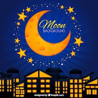 Luna amarilla sobre fondo azul