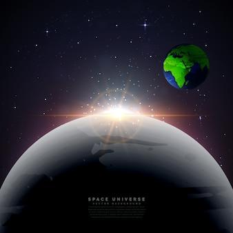 Luna con la Tierra universo vector de fondo