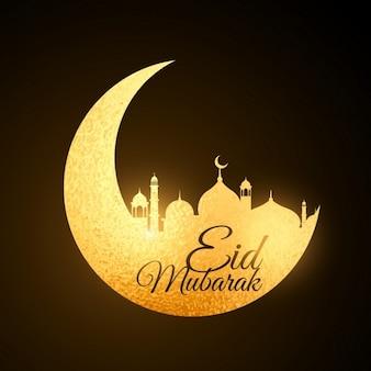 Luna del festival de eid mubarak dorada con mezquita