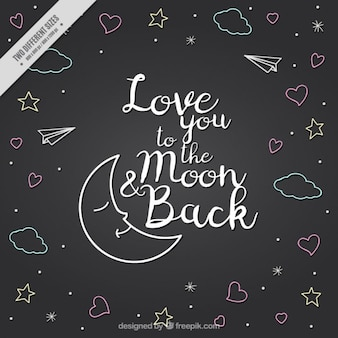 Luna y dibujos con frase de amor