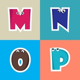 M, n, o, p, letras divertidas