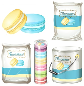 Macarons en diferentes envases
