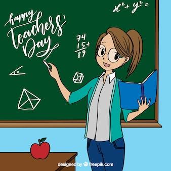 Maestra junto a la pizarra en estilo de anime