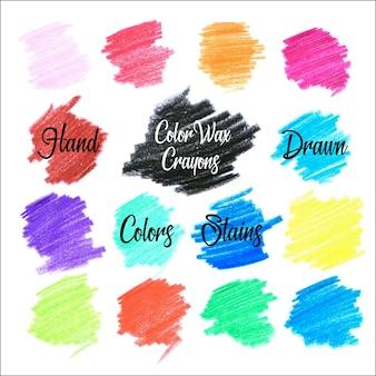 Manchas de colores de lapiz de cera