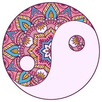 Mandala colorido de yin y yang