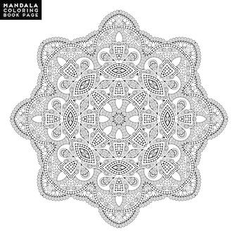 Mandala de la flor. Vintage elementos decorativos. Patrón oriental, ilustración vectorial. Islam, árabe, indio, marroquí, españa, turco, paquistán, chino, místico, otomano motivos. Página del libro para colorear