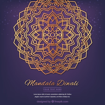 Mandala dorada de diwali