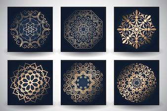 Mandalas ornamentales dorados