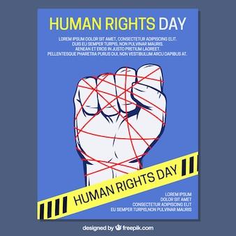 Mano con líneas rojas, día de los derechos humanos