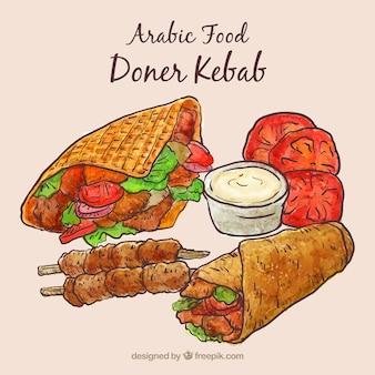 Mano dibujado menú kebab