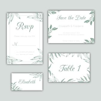 Mano dibujados de papelería de la boda conjunto con hojas verdes