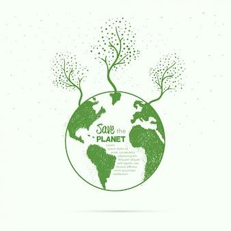Mano esbozado fondo de la Tierra