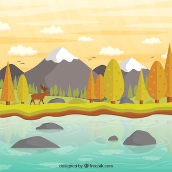 Mano paisaje dibujado con colores otoñales