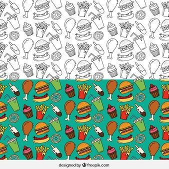 Mano patrón dibujado comida rápida