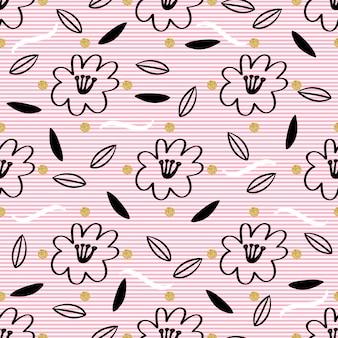 Mano sin fisuras dibujado floral y la hoja con patrón de brillo de punto de oro sobre fondo de raya de color rosa