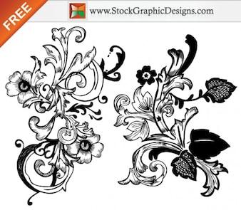Mano vectoriales sin elementos dibujados Diseño Floral