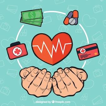 Manos con corazon e iconos médicos dibujado a mano