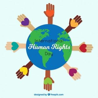 Manos con corazones alrededor del mundo, día de los derechos humanos
