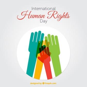 Manos con diferentes colores, día de los derechos humanos
