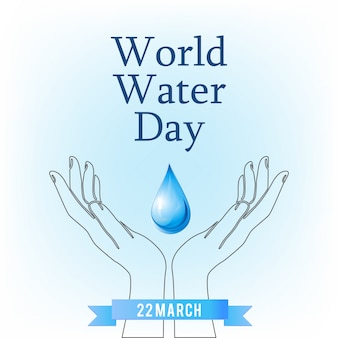 Manos con una gota, día mundial del agua