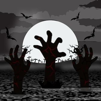 Manos de zombies para Halloween