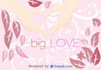 Manos en forma de corazón sobre diseño floral