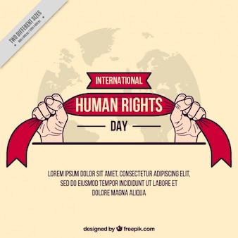 Manos sujetando de una cinta, día de los derechos humanos