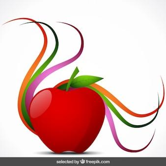 Manzana aislada con ornamentos coloridos