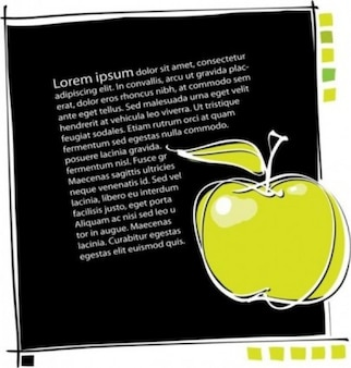 Manzana amarilla sobre fondo negro