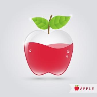 Manzana de cristal con líquido naranja