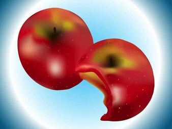Manzana roja mordida ilustración realista