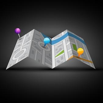 Mapa 3d de ciudad con clavija