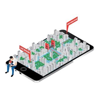 Mapa con perspectiva isométrica sobre pantalla de iphone
