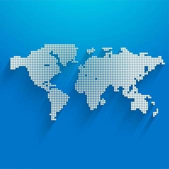 Mapa con puntos sobre un fondo azul
