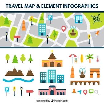 Mapa de carretera con elementos planos
