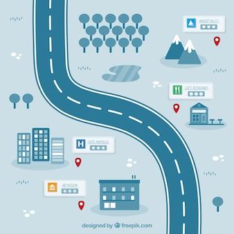 Mapa de carretera de noche