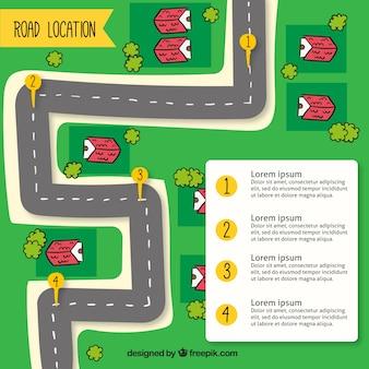 Mapa de carretera dibujado a mano con varios marcadores