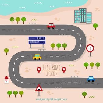 Mapa de carretera en diseño plano