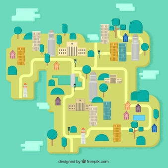 Mapa de ciudad en diseño plano