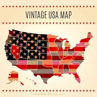 Mapa de eeuu vintage