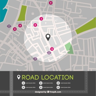 Mapa de localización de calle en vista superior